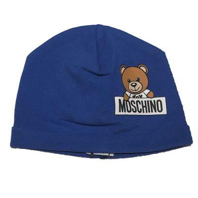 Cappellino azzurro neonato moschino