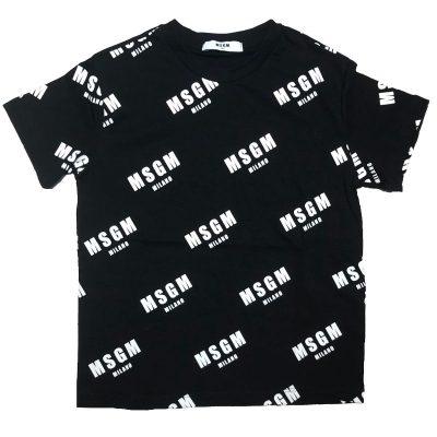 T-shirt nera loghi msgm kids