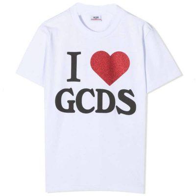 T-shirt bianca bambina gcds