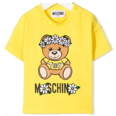 T-shirt gialla margherite moschino baby