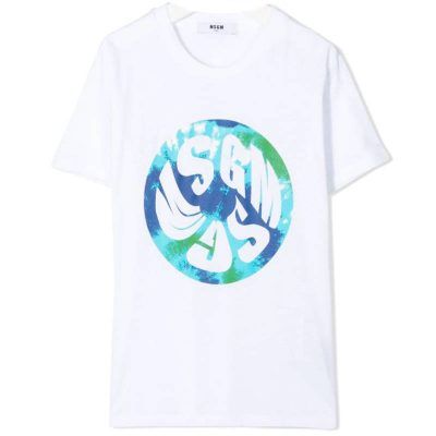 T-shirt bianca bambino msgm