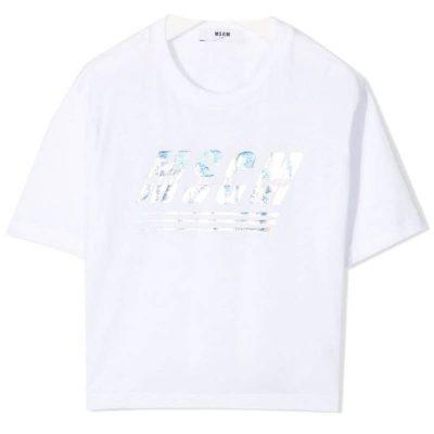T-shirt bianca corta msgm bambina