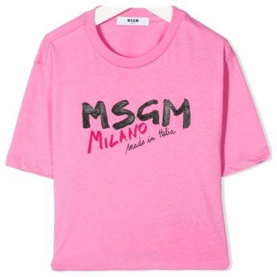T-shirt rosa corta bambina msgm