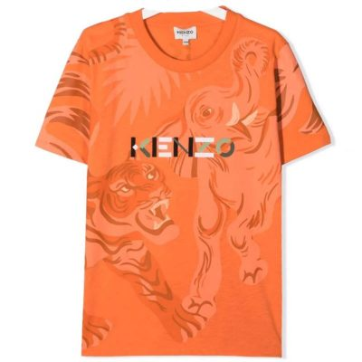 T-shirt arancione kenzo kids